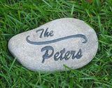 PERSONALIZED Engraved Stone Address Marker Garden Stone 7-8 Inch Custom Stone Address Marker