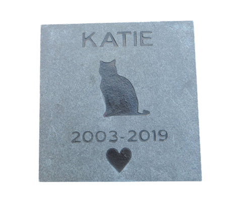 Cat Memorial Stone Marker, Cat Pet Memorial Gravestone 6 x 6 Slate - MainlineEngraving.Com