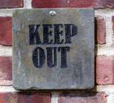 Keep Out Sign Marker Engraved Slate 6 x 6 Inch Keep Out Sign Address Plaque