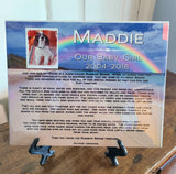 Rainbow Bridge Pet Memorials, Pet Sympathy Gifts, Pet Loss Gifts 8 x 10 Ceramic Tile w/ Easel