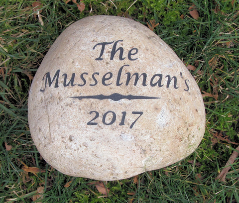 Personalized Engraved Stone Address Marker 8-9 Inch Garden Address Marker with Name and Date