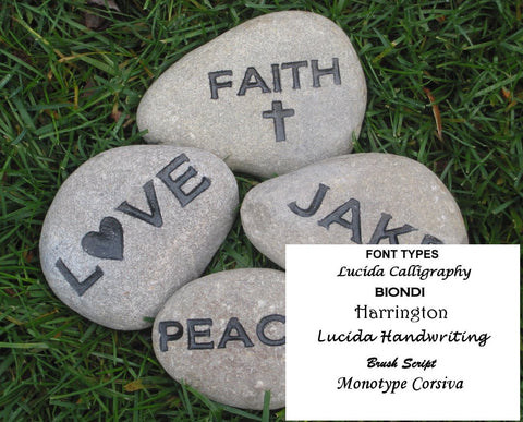Inspirational Stones, Personalized Pocket Stones, Affirmation Stones, Engraved Name Stones, Inspiration Stone, 2-3 Inch Set Of 4 River Stones