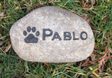 Pet Memorial Stone Dog - Cat Garden Memorial 5-6 Inch Memorial Pet Stone Grave Marker with Paw Print