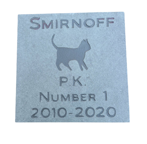 Cat Memorial Stone, Grave Marker, Headstone 6 x 6 Inch - MainlineEngraving.Com