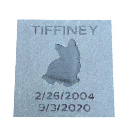 Yorkie Memorial Stone, Headstone, Any Breed 6 x 6 Inch - MainlineEngraving.Com