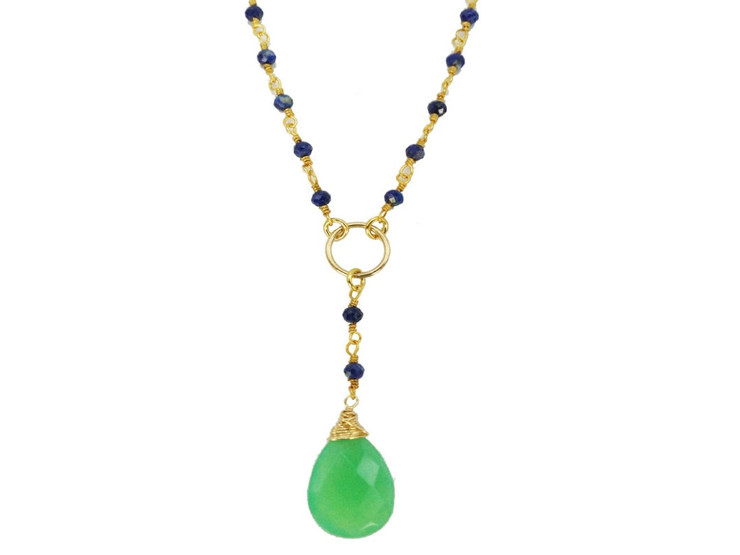 Lapis Bead Y Necklace with Chrysoprase Drop