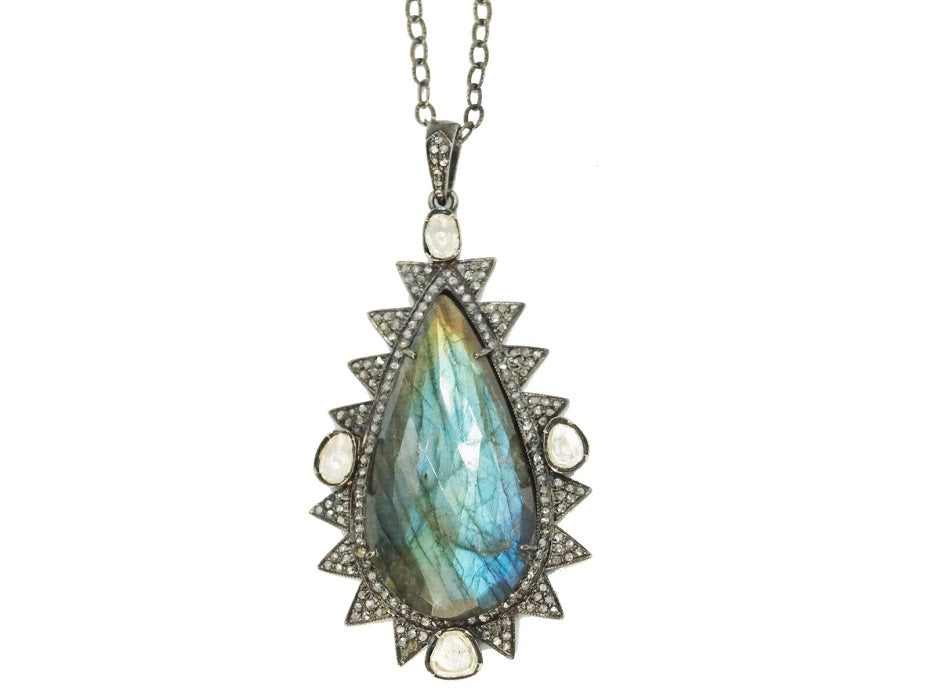 Labradorite, Crystal, and Diamond Pendent Necklace