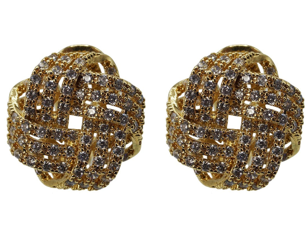 Infinite Knot Stud Earrings with CZs