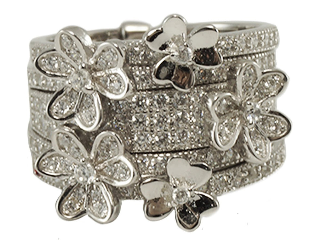 Silver Set of Flower Moving Stack Bands