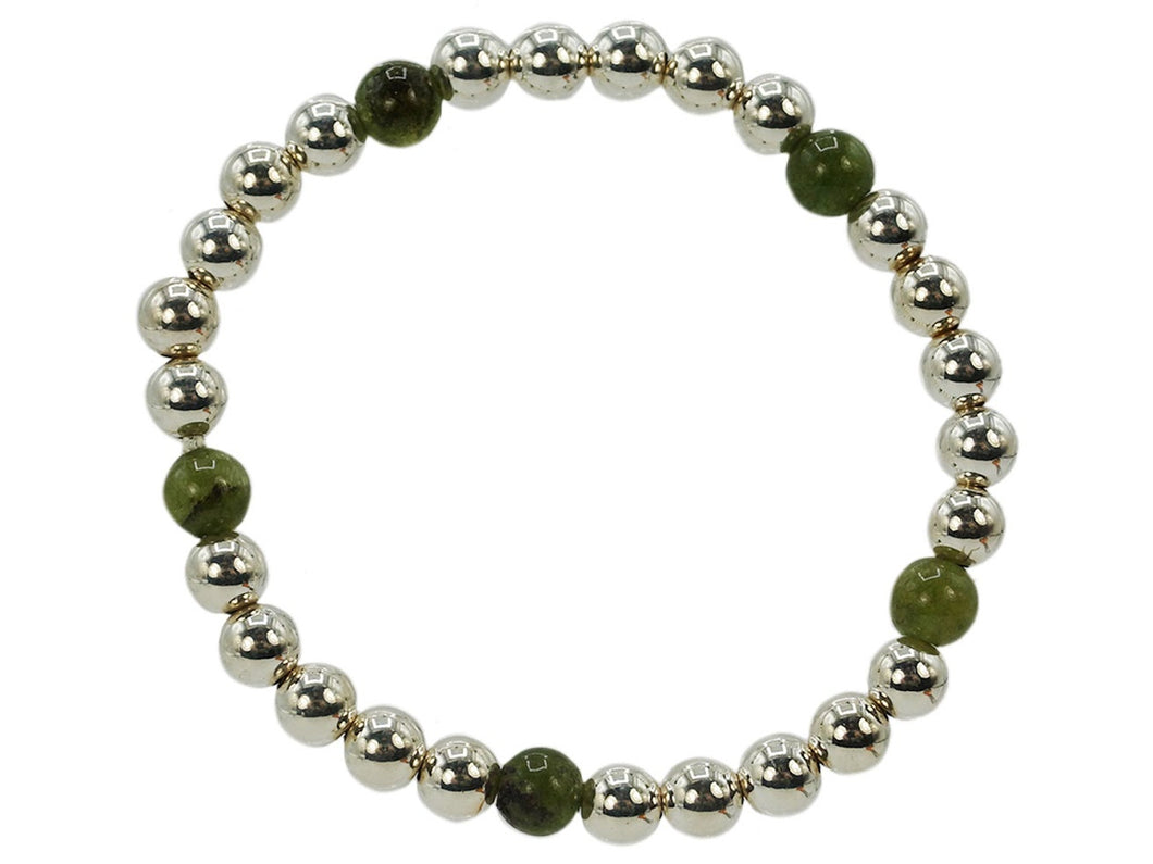 Silver 6mm Bead Bracelet with Army Green Jade