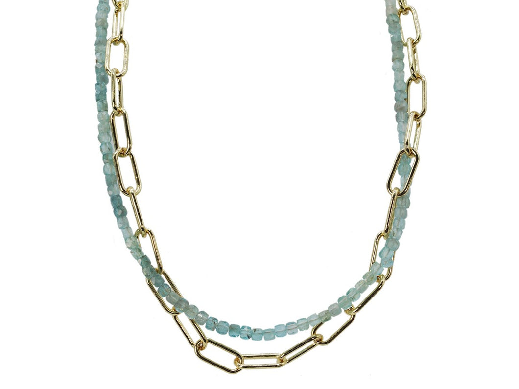 Moss Aquamarine Double Layer Necklace