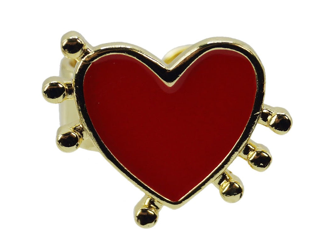 Red Heart Adjustable Ring