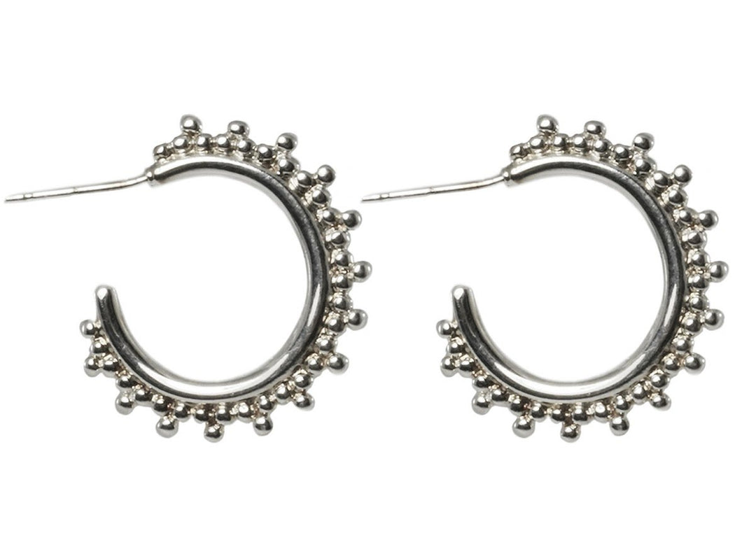 Silver Hoops with Granulated Edge