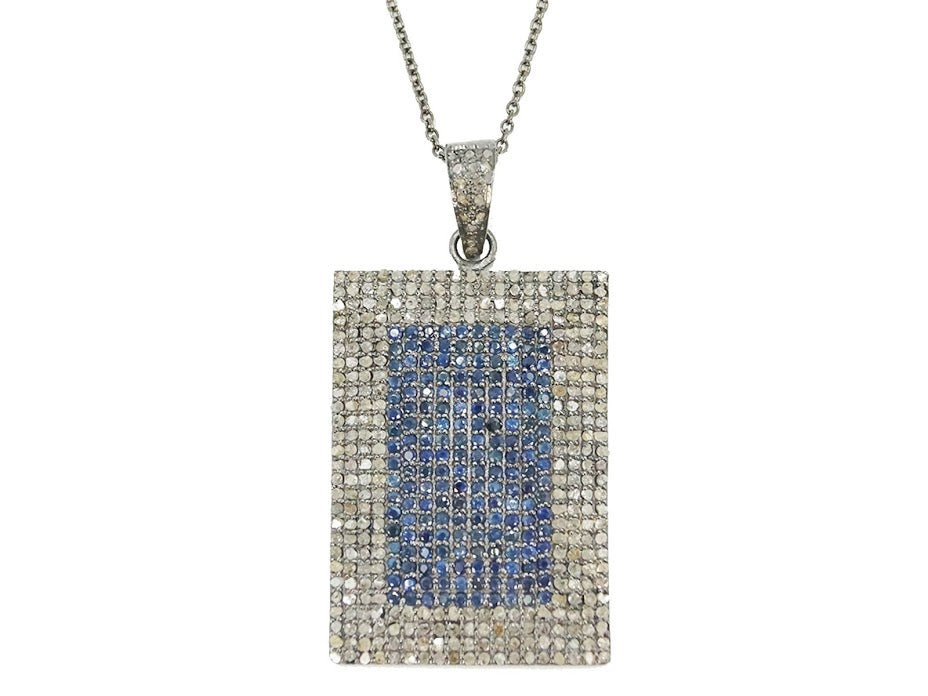 Sapphire and Diamond Dogtag Necklace