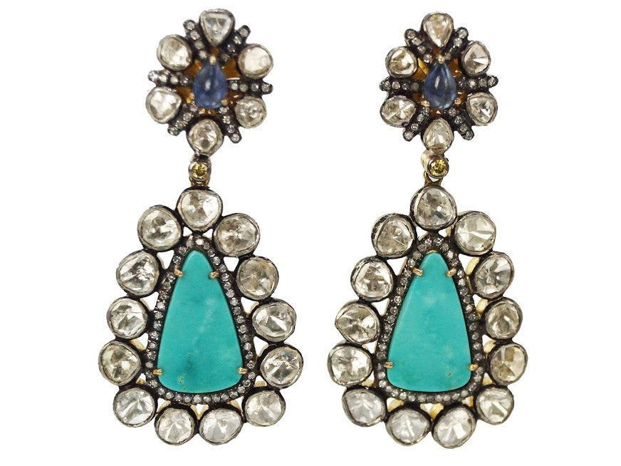Turquoise, Diamond, and Sapphire Earrings