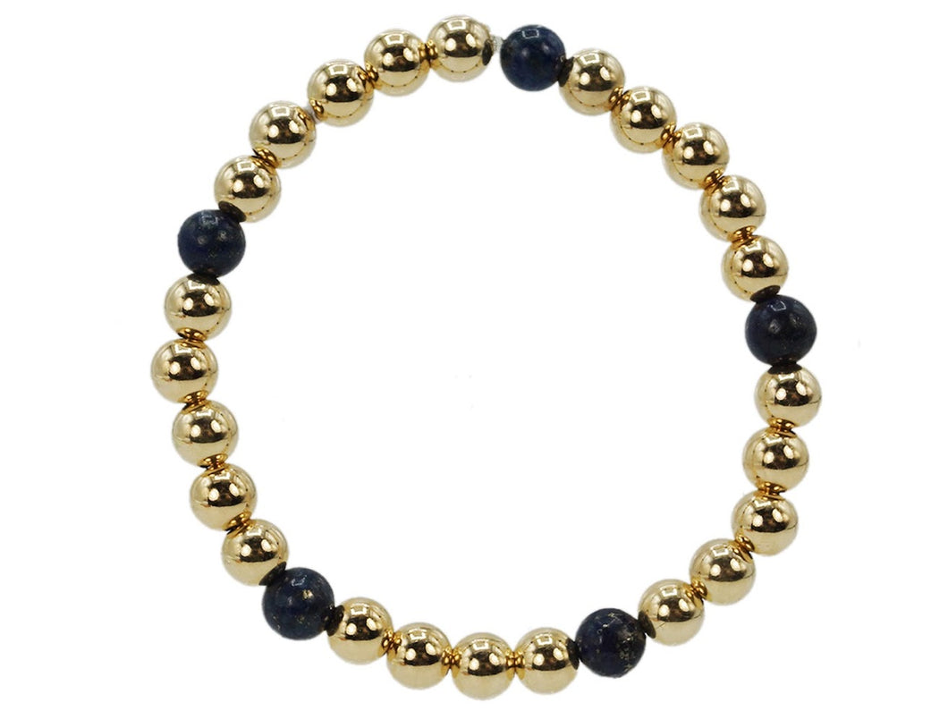 Gold 6mm Bead Bracelet with Lapis