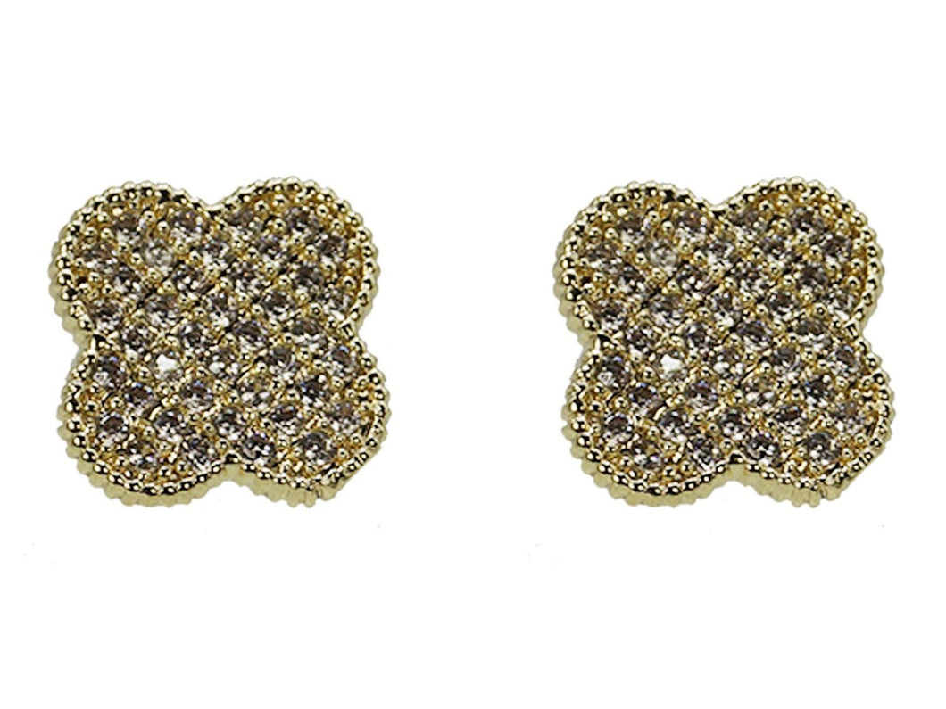 Gold Clover Studs with CZs