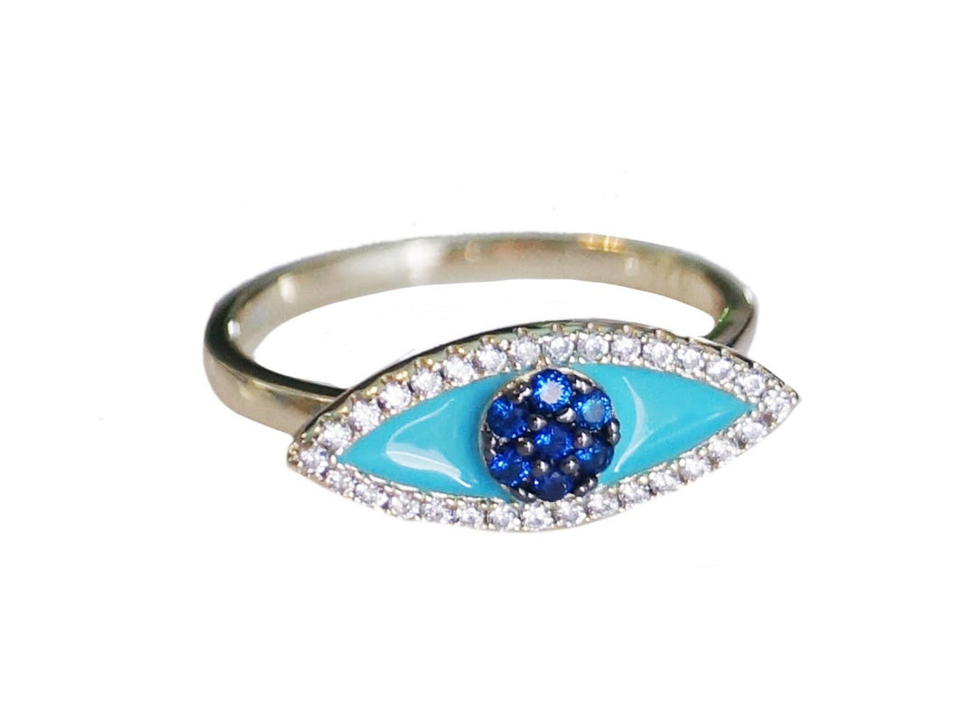 Silver, Enamel, and CZ Evil Eye Ring