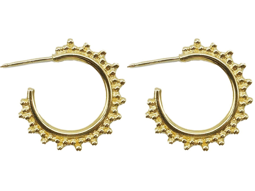 Gold Hoops with Granulated Edge