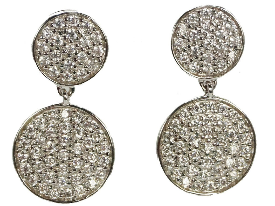 Double Drop Disc Earrings with CZs
