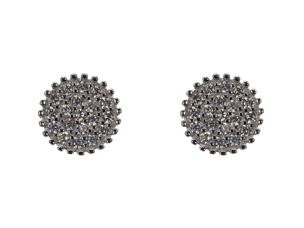 Silver Circle Studs with CZs
