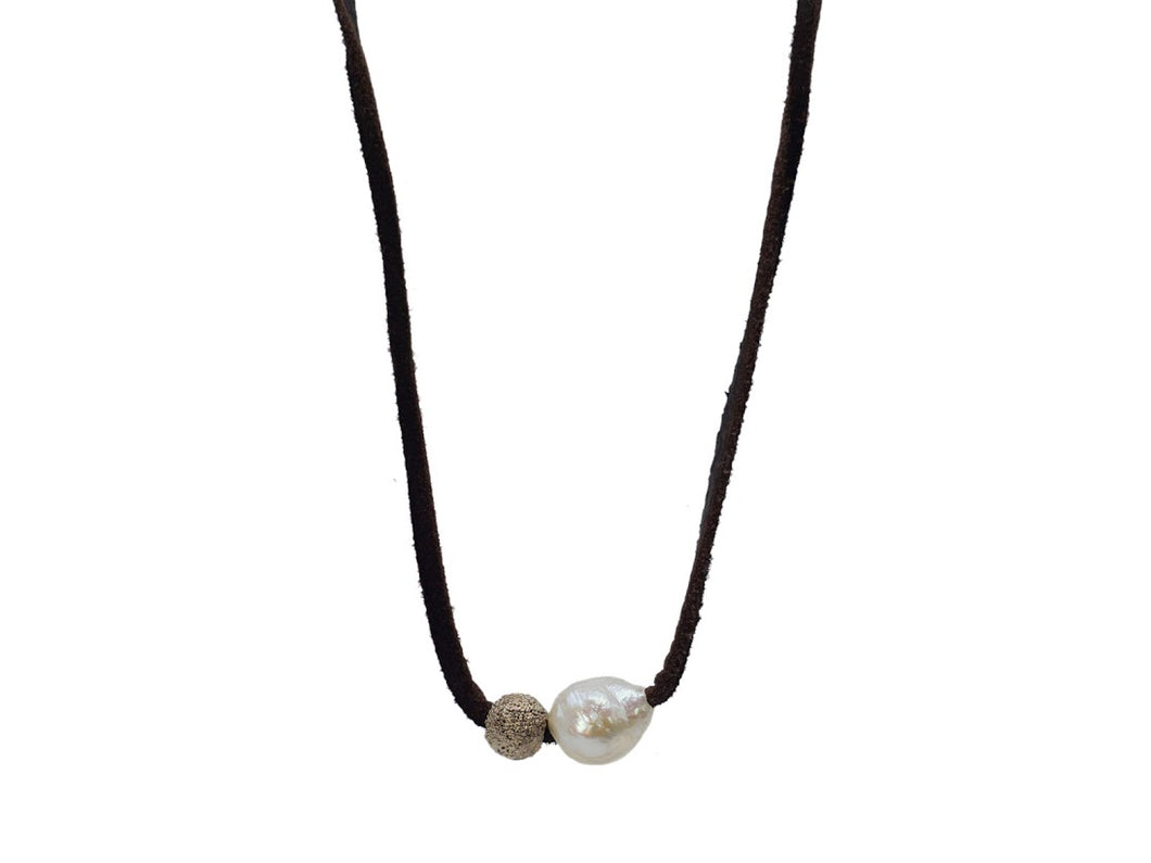 Gray Pearl, Sterling Bead, Brown Leather Necklace