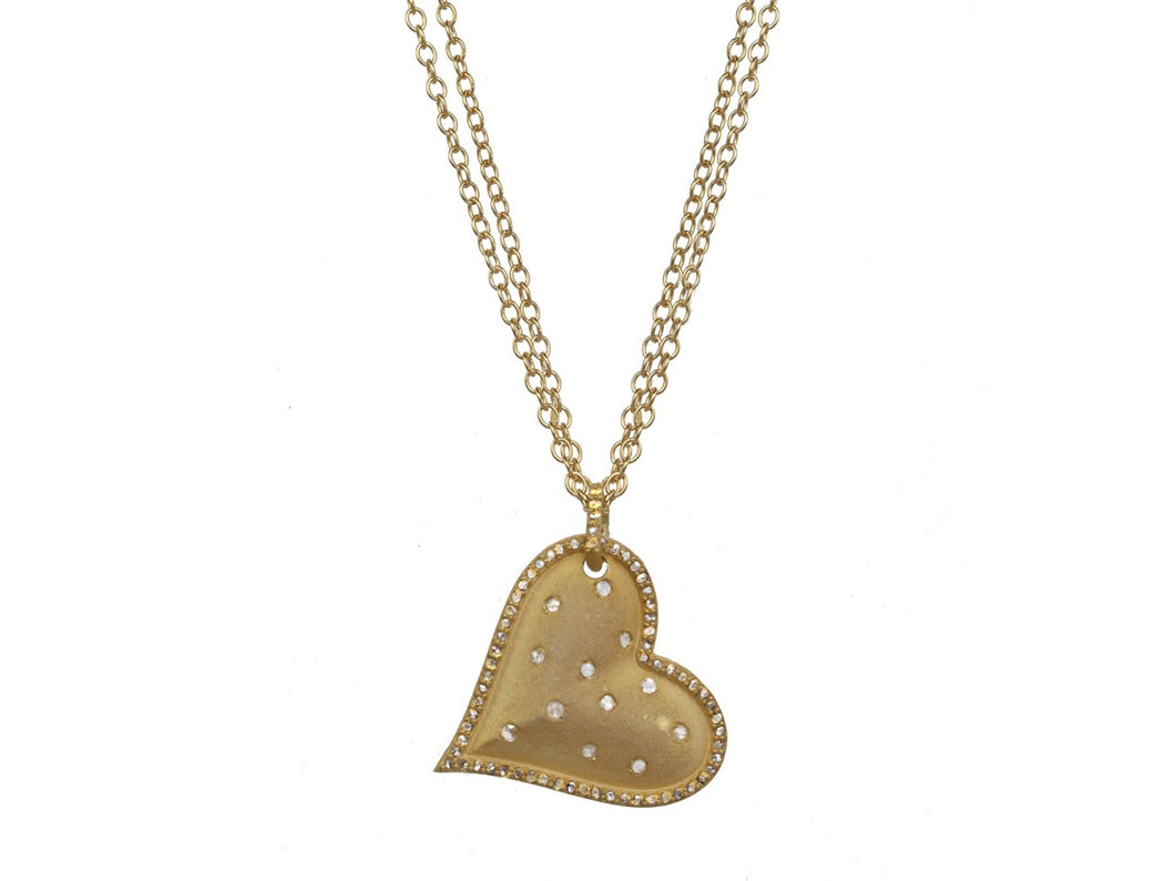 Gold Tilted Diamond Heart Necklace on Double Chain