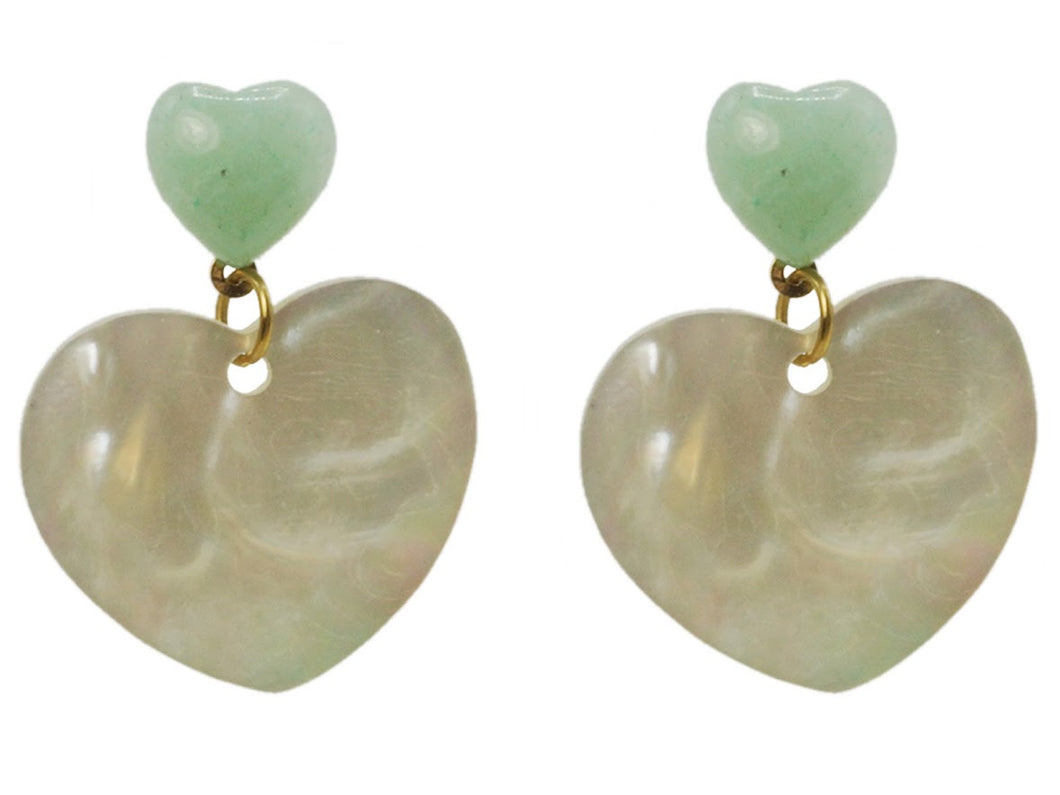 Aventurine and Shell Heart Drop Earrings