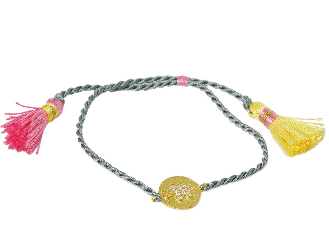 Gray Elephant String Bracelet