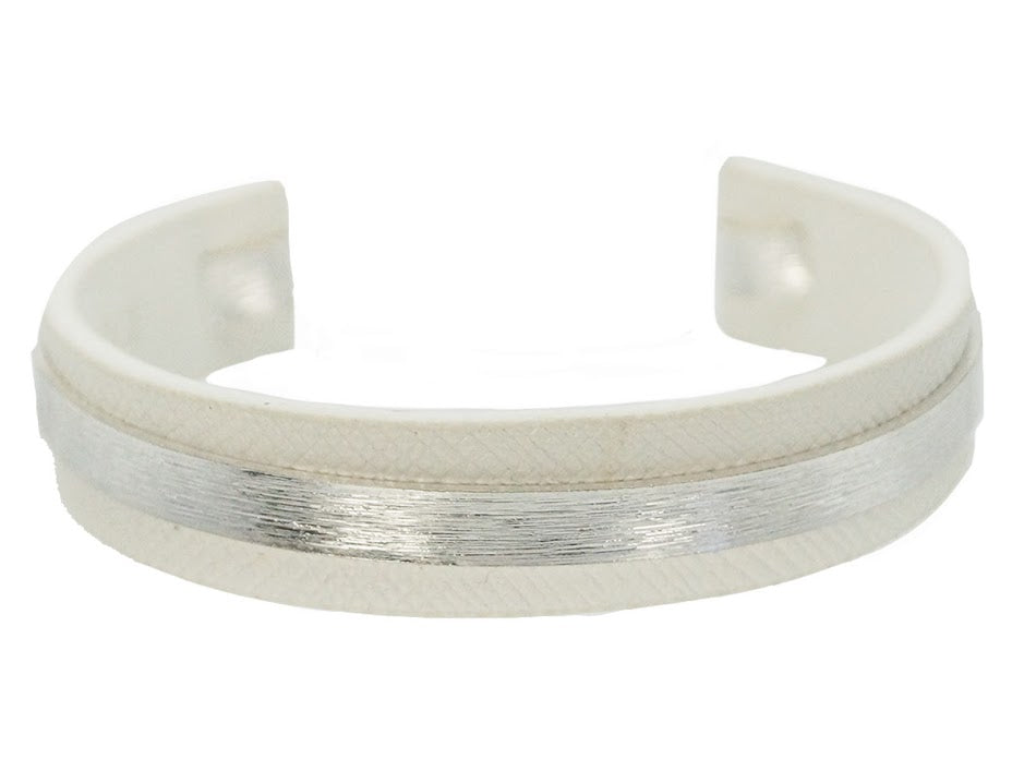 White with Silver Banded Bracelet