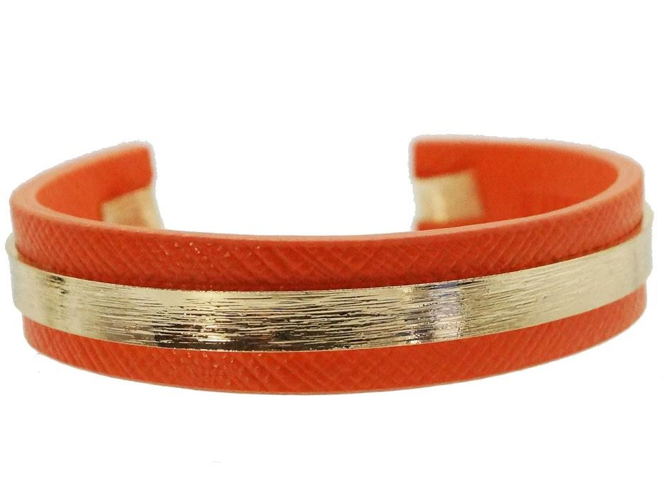 Orange with Gold Banded Bracelet