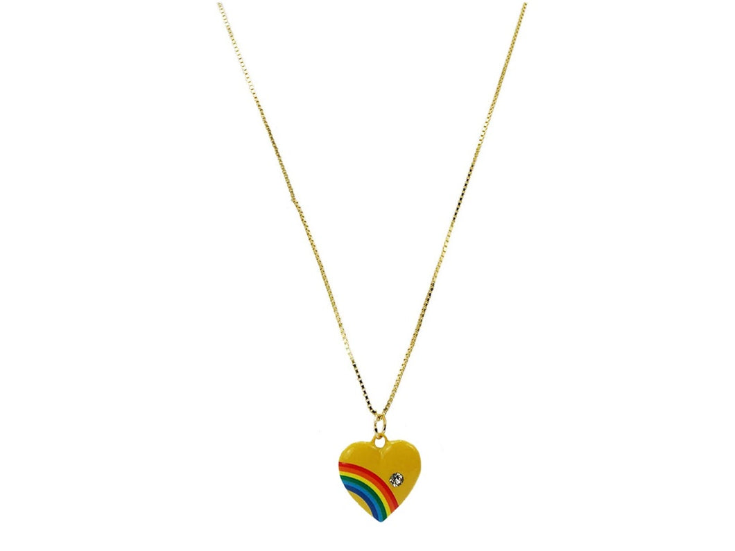Yellow Handpainted Heart Charm Necklace