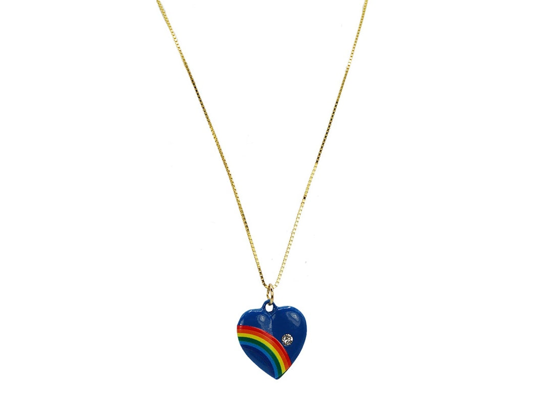 Blue Handpainted Heart Charm Necklace