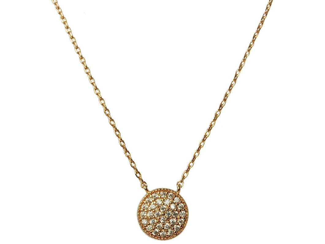 Flat Disc Necklace with CZs