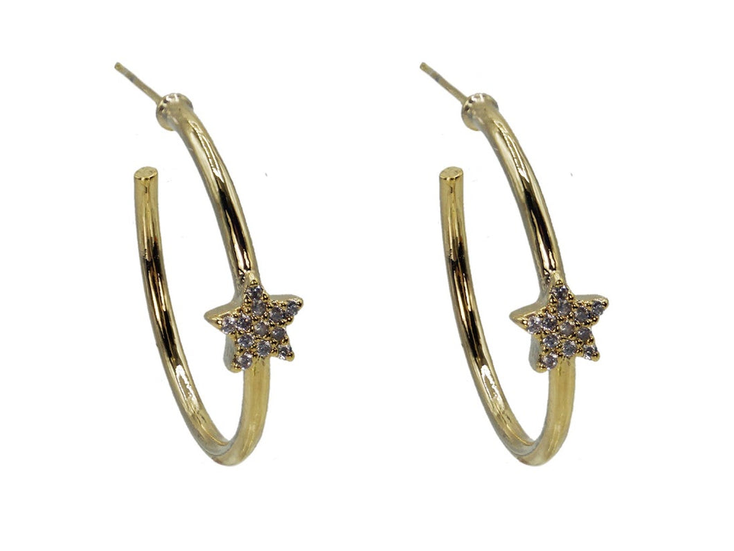 Gold Delicate Star Hoop Earrings
