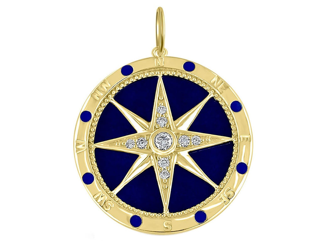 Large Compass Medallion with Lapis and Diamonds