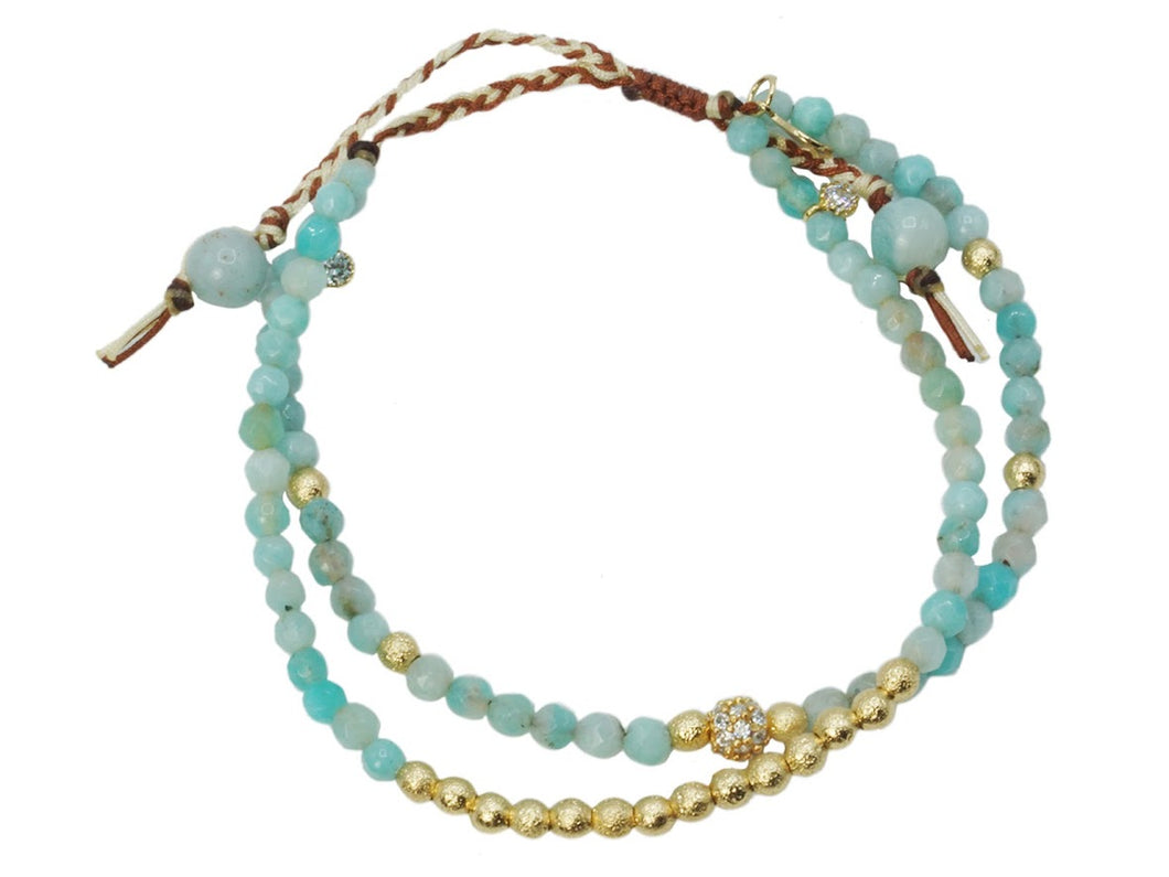 S/2 Amazonite w/ CZ and Gold Beads Bracelets