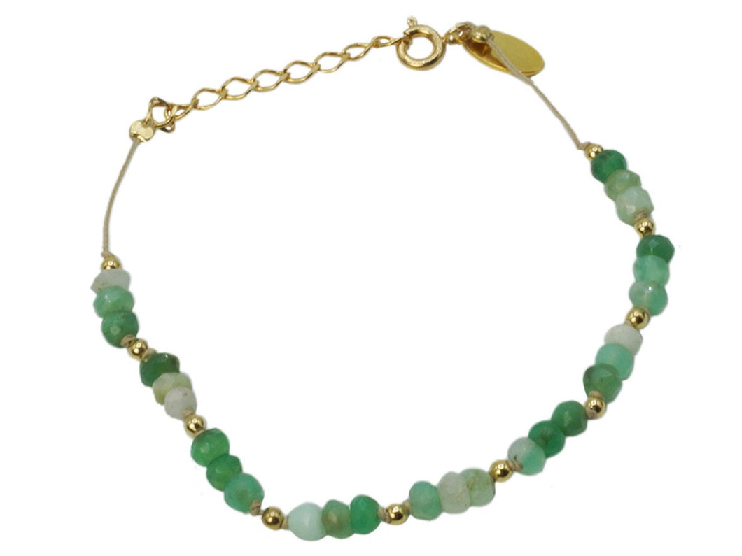 Chrysoprase Nine Bracelet on Beige Cord