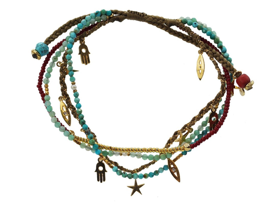 S/4 Turq and Gold Charms w/ Red Beads Bracelets