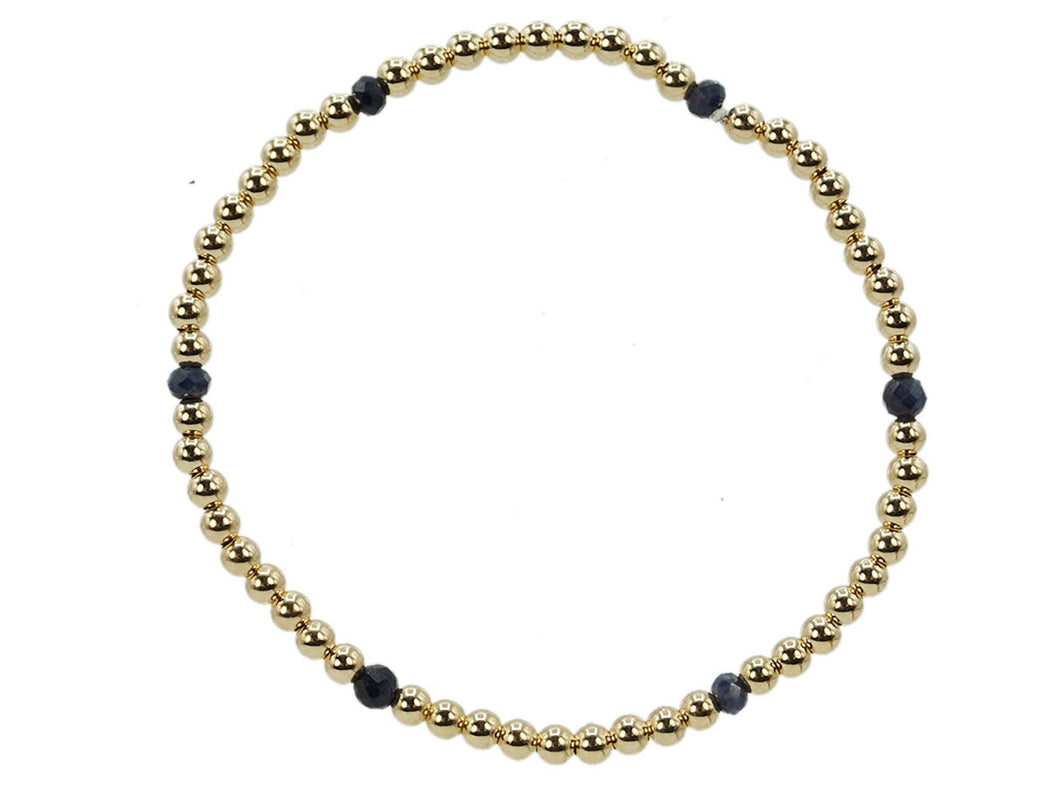 Gold 3mm Bead Bracelet with Sapphire