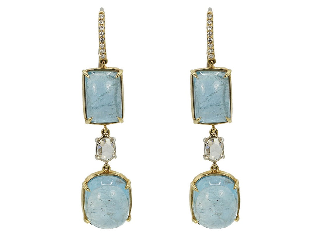 Aquamarine and Diamonds Mix and Match Earrings