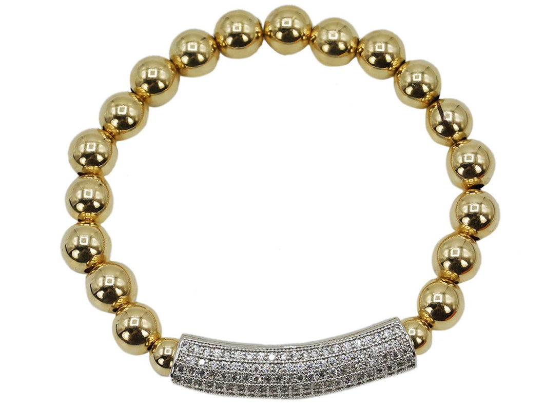 Gold 8mm Bead Bracelet with Silver CZ Bar
