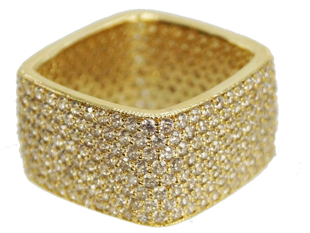 Gold Square CZ Pave Ring