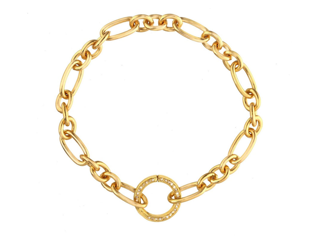 Link Bracelet with Diamond Round Closure