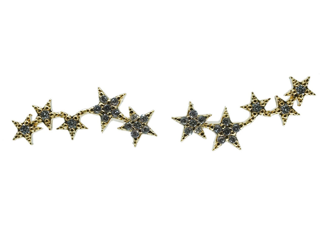 Gold Five Star Climber Earrings