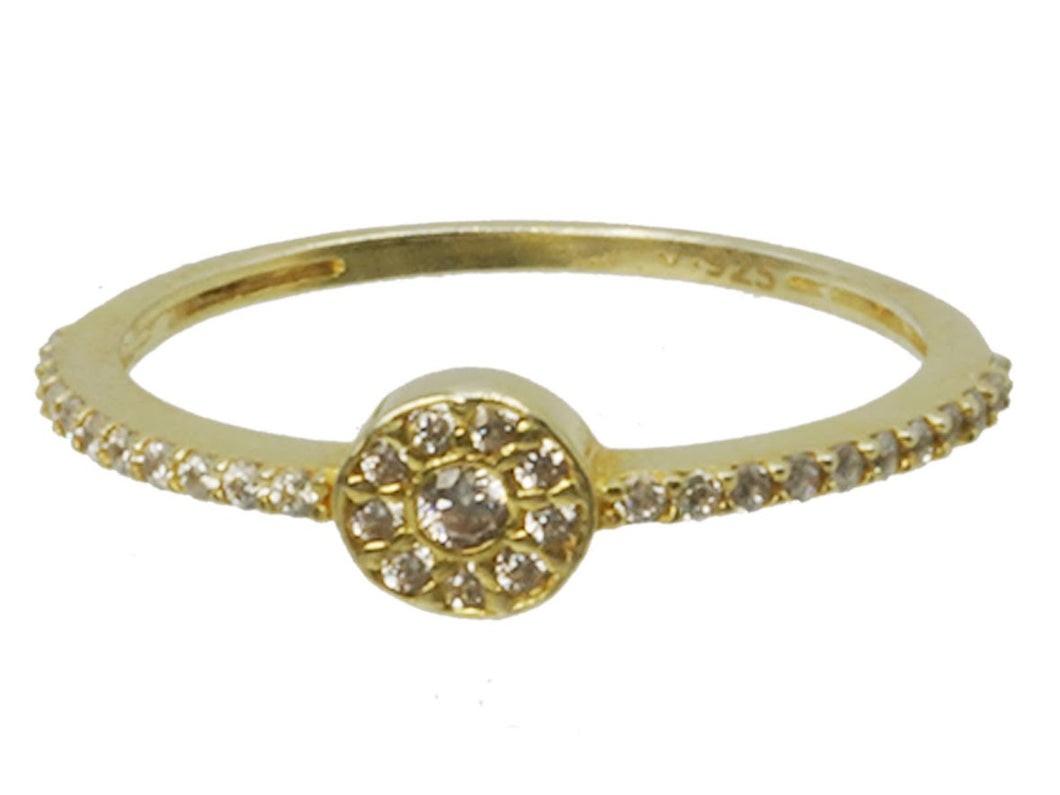 Gold Pave CZ with Halo Ring