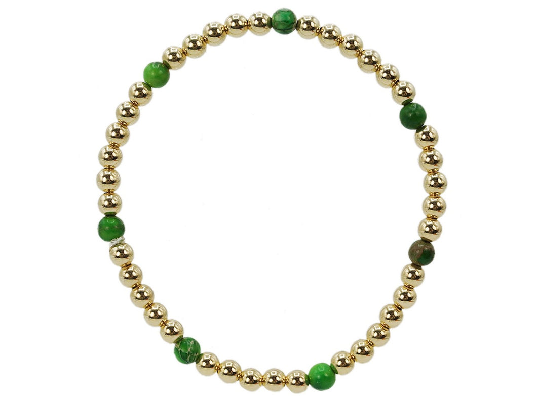 Gold 4mm Bead Bracelet with Green Turquoise