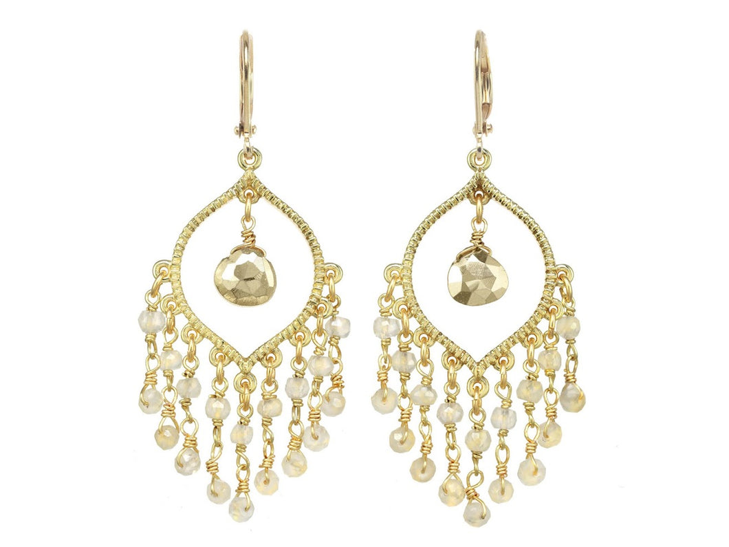 White Chalcendony and Pyrite Chandelier Earrings
