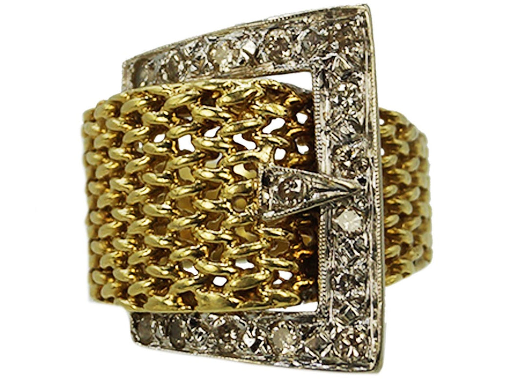 1950s Mesh and Diamond Buckle Ring