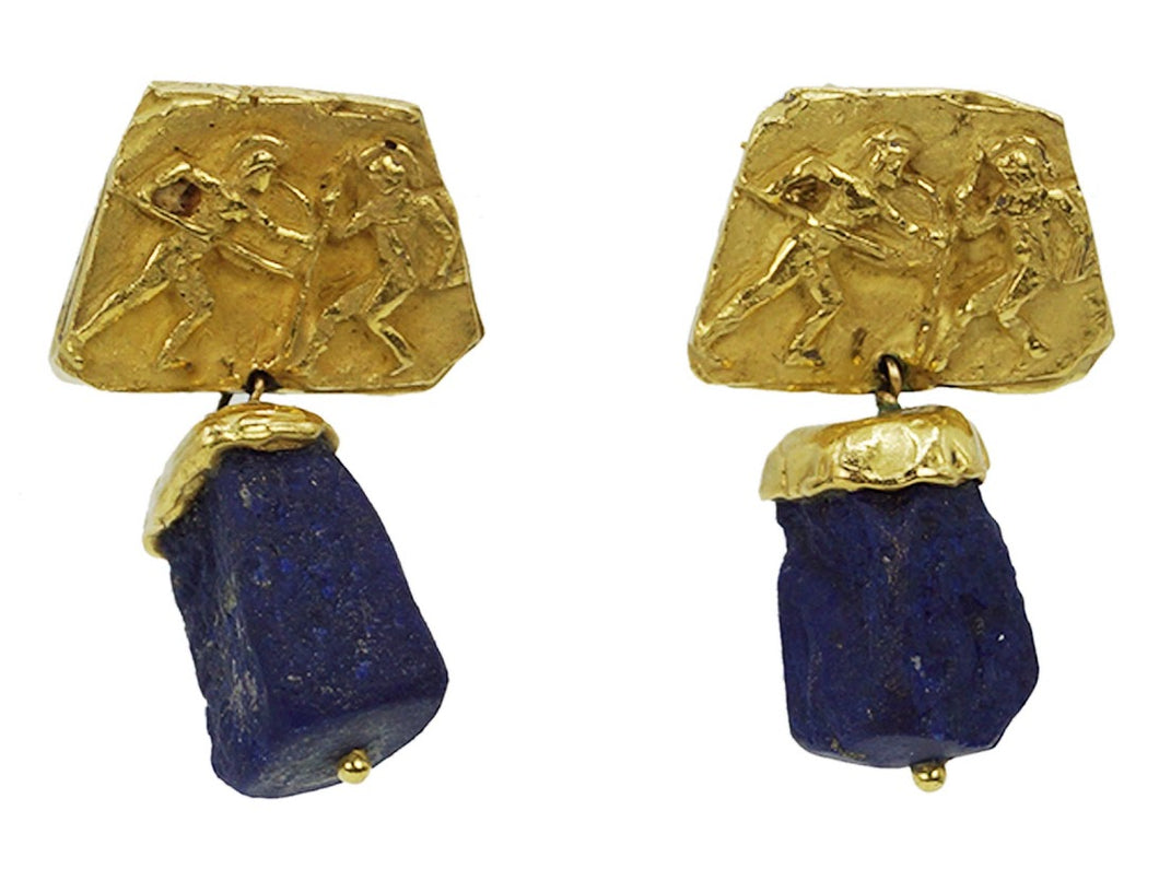 Lapis Earrings with Classical Motif